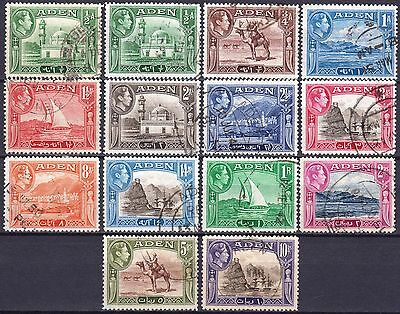 Aden 1938 used set, SG 16 - 27, including SG 16a, Cat £45