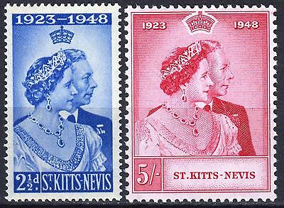 St Kitts Nevis, 1948 Royal Silver Wedding pair, SG 80 & 81, Mint Never Hinged