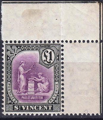 St Vincent 1913, £1 Mauve & Black, SG 120, Mint Never Hinged, Cat £100