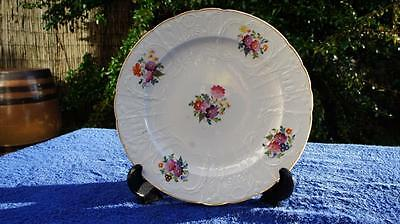 Good Swansea Style Antique Moulded Scalloped Dessert Dish, Hand Painted Flowers