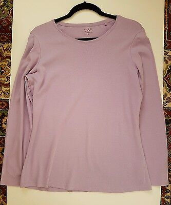 ladies/womens Marks&Spenser cotton crew neck long sleeve Lilac T shirt size 18