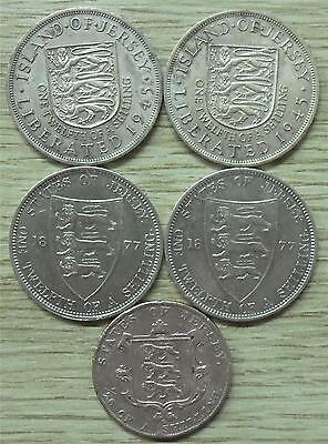 Five States of Jersey Copper Coins (2 X 1877, 2X 1945, 1 X 1844)
