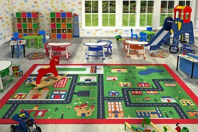 Children Large Girls Boys Fun Rugs Green Town (80x120cm) City Playground Bedroom