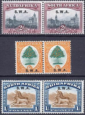 SW Africa 1927, SG 60, 63 & 64, Mint Never Hinged, Cat £26
