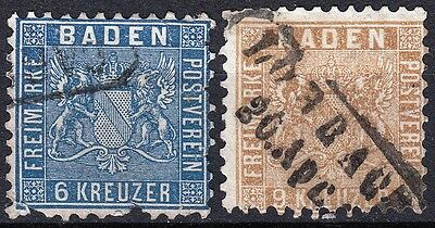 Baden, 1860 issue, perf 10, SG 22 & 25a - Cat £400
