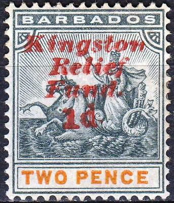Barbados, Kingston Relief, partial SURCHARGE DOUBLE, SG 153b, M/Hinged, Cat £850