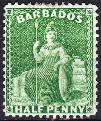 Barbados 1875, P14, Small Star, SG 72, 1/2d Bright Green, Mint Hinged, Cat £20
