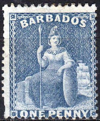 Barbados 1875, P14, Small Star, SG 73, 1d Dull Blue, unused, Cat £120