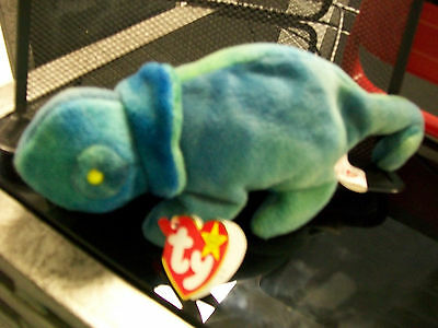 Iggy Rainbow Ty Beanie Baby Mint Swing Tag And Tush Tag Error Pvc Pellets Lizard