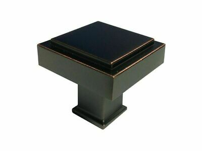 "Oil Rubbed Bronze 1 1/8"" Bathroom Kitchen Cabinet Square Knobs 30MM Pulls Modern"