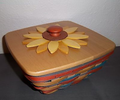 Longaberger Collectors Club FALL IN LOVE WEAVE ~ SUNFLOWER BASKET LID &PROTECTOR