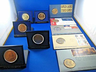 U.S. BICENTENNIAL SET OF 5 MEDALS & 5 FDCs WITH MEDALS - 1972 - 1976    (dpb1)