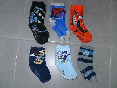 6 paires chaussettes Mickey, Spiderman et Cars