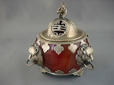 Chinese Beatifully Crafted Tibetan Silver Monkey and Jade Censer incense Burner