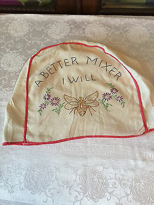 VINTAGE EMBROIDERED MIXER COVER BEE and FLOWERS