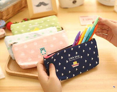 Student Pencil Case Owl Zipper Simple Cotton Cosmetic Make-up Pouch Bag Handbag