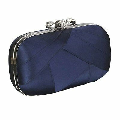 Navy Blue Clutch Bag Satin Cystal Bow Top Clasp Party Prom Eveing Wedding BNWT