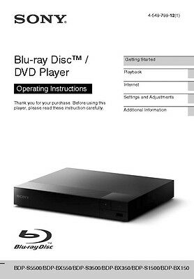 Sony bdp-s580 blu-ray player owners manual | ebay.