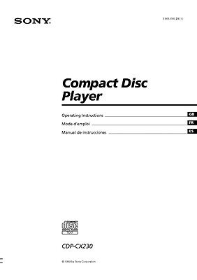 Sony cdp-cx455 cd player owners manual | ebay.