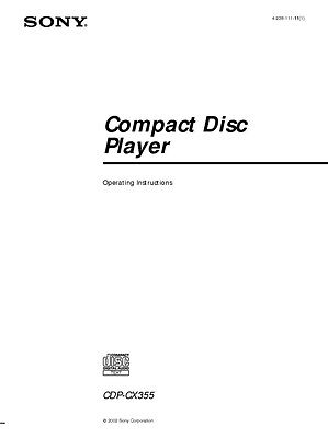 Sony CDP-CX355 CD Player Owners Manual