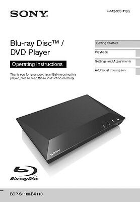 sony bdp bx110 blu ray player owners manual 18 99 picclick rh picclick com Sony Blu-ray Remote Sony Blu-ray Player