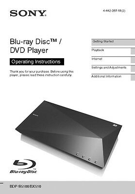 Sony BDP-S5100 Blu-ray Player Owners Manual
