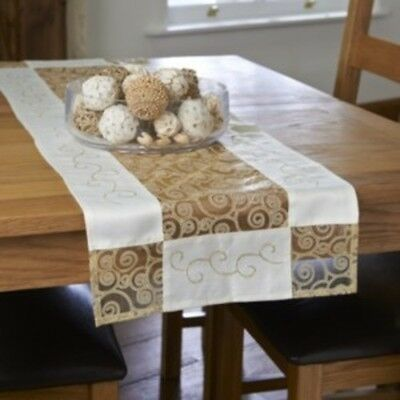 Gold and Cream Embroidered Scroll  Table Runner