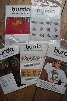 Collection of 6 vintage burda embroidery transfer patterns
