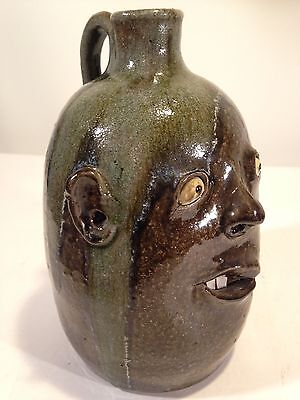David Meaders Face Jug Southern Folk Art Pottery North Georgia 11.5""