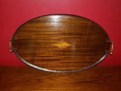 Vintage Mahogany Tray w/ Satinwood Inlays & Brass Handles - Made in USA