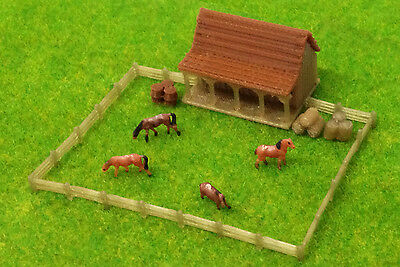 Outland Models Train Railway Layout Country Stable with Horses and Grass Z Gauge