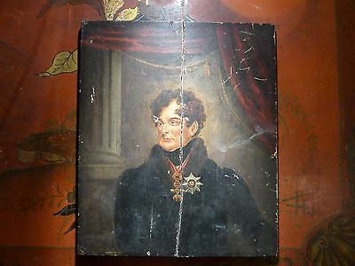 VERY RARE OIL PAINTING KING GEORGE IV ENGLAND EARLY 19th CENTURY oil on wood