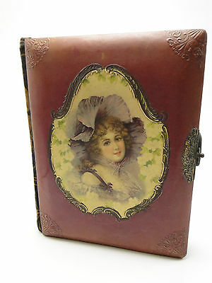 Antique Victorian Woman Celluloid Cover 20 page Photo Album Book Brass Latch