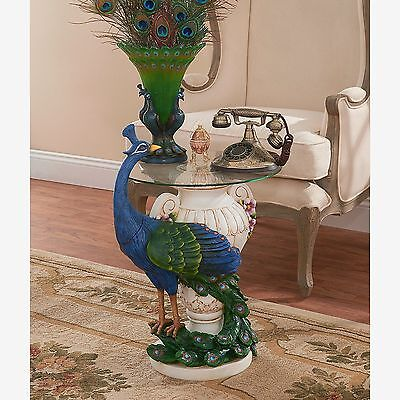 Majestic Rich Peacock Sculptural Glass Top Accent Table