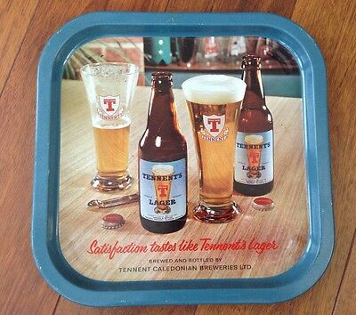 Vintage - Tennents Lager - Printed Metal - Bar Serving Tray