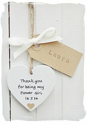 Personalised Thankyou Bridesmaid Page Boy Flower Girl Wooden Heart Wedding Gift