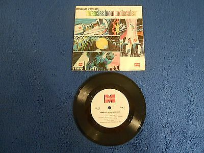 """DISNEYLAND Monsanto Miracles From Molecules 33 RPM 7"""" Vinyl Record with Sleeve"""