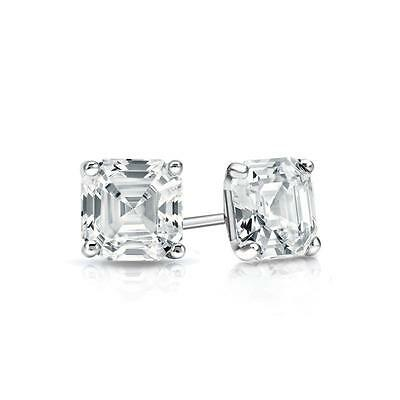 1.50 Ct. Asscher Cut Earrings Studs Real Solid 14K White Gold Martini Screw Back