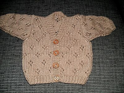 Brand New Handknitted Cardigan To Fit Baby Boy/girl  Age 0 - 3 Months