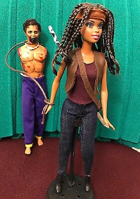 Barbie Ooak Doll As Michonne And Walker - The Walking Dead -For Collectors