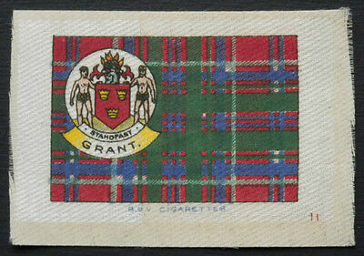 GRANT Clan Tartan and Coat of Arms SILK card issued in 1922