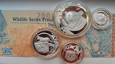 2004 South Africa LEOPARD African Wildlife Series 4 coin Silver Proof set