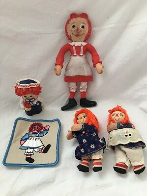 Vintage Raggedy Ann & Andy Dolls Toys Bendy Hallmark Finger Puppet Patch Clip On