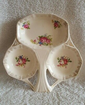 VINTAGE H & K TUNSTALL CHINTZ FLORAL CANDY TRIPLE DISH 1950's