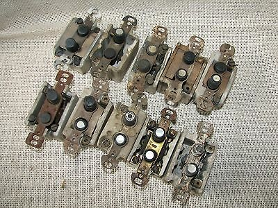 10 Antique PORCELAIN PUSH BUTTON Wall LIGHT SWITCH Lot #1