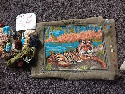 Unfinished Tapestry Of Tiger With Yarn