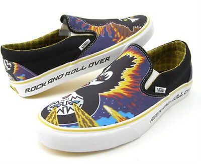 KISS Rare ROCK AND ROLL OVER Vans Slip On Shoes NIB! 7, 8