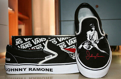 JOHNNY RAMONE Rare Vans Slip On Shoes New In Box 5, 6, 6.5, 7.5, 8, 9