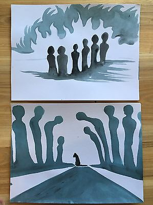 FREE POST Who's Praying Now? Bulk Lot 2 A4 Paintings Sienna Mayfair Cat People