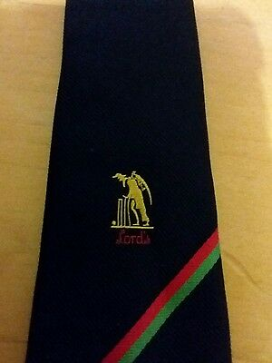 Lords Cricket Tie London Navy Blue Club Striped 1970's 1980's By Maccravats